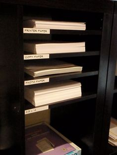 Materials: Screws/ extra Expedit shelves Description: I was looking at paper trays because im always getting the printer/copy paper mixed up. I looked online for cheap plastic ones thinking they would be $1 a piece but the cheapest i could find was $3-4 so I decided to make my own which I think looks better [&hellip
