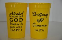 """Our exclusive design of """"God loves us"""" will be a sure-fire hit at any event. Perfect for wedding reception, rehearsal dinner, showers, but also tail-gating parties, anniversaries, anywhere that serves alcohol. 2 sides print- no extra. This design, also printed on #weddingkoozies, will be  for sale on www.FavorsYouKeep.com in 4/2014. Can't wait,? Call the design team in Austin TX at 512.323.0600. They will happily assist you place your order today! 100 cups/ $109.00 #personalizedstadiumcups"""