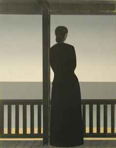 Woman by the Sea, Will Barnet , 1972, lithograph on paper, 32 1/4 in. x 24 1/2 in. Currier Museum of Art.
