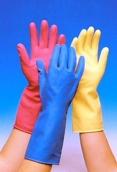 Small Learned 24 X Yellow Pink Blue Marigold Style Washing Up Rubber Gloves 12 Pairs Rapid Heat Dissipation