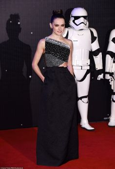 Daisy Ridley in Roland Mouret lead the Leicester Square premiere of Star Wars: The Force Awakens for the European premiere of the movie on December 16, 2015