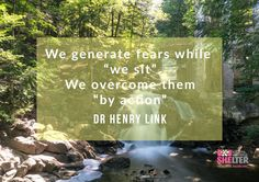 """We generate fears while we sit. We overcome them by action.""- Dr. Henry Link"
