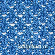Ажурный узор спицами № 6 - Красивый простой ажурный узор спицами. Его можно вязать из тонких хлопчатобумажных, шерстяных или полушерстяных нитей. Прекрасно подойдет для вязания женских и детских платьев и кофточек.