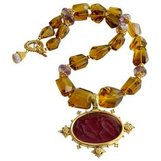 Faceted Citrine Ametrine Intaglio Choker Necklace | From a unique collection of vintage choker necklaces at https://www.1stdibs.com/jewelry/necklaces/choker-necklaces/