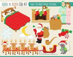 'Twas the Night Before Christmas Clip Art - color and outlines $