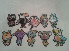 My neighbours from Animal Crossing: New Leaf. Made from perler beads. Residents of Amyville Perler Bead Templates, Diy Perler Beads, Pearler Beads, Fuse Beads, Animal Crossing, Hama Beads Patterns, Beading Patterns, Melty Bead Designs, Perler Bead Mario