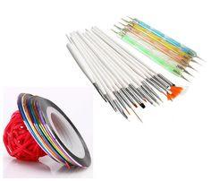 [Visit to Buy] 20pcs Nail Art Design Set Dotting Painting Drawing Polish Brush Pen Tools Silver 8rolls Colors Nail Striping Tapes Set #Advertisement