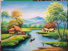 Easy Landscape Paintings, Scenery Paintings, Canvas Painting Landscape, Landscape Drawings, Nature Paintings, Watercolor Landscape, Landscape Art, Village Scene Drawing, Art Village