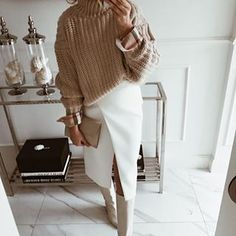 Cozy beige knit sweater with white pencil skirt and trendy boots. Cozy beige knit sweater with white pencil skirt and trendy boots. White Skirt Outfits, Winter Skirt Outfit, White Skirts, Mode Outfits, Fall Outfits, Casual Outfits, Fashion Outfits, Gothic Fashion, Ootd Fashion