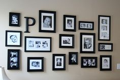 Photo wall: I like this one because it looks like you can just keep adding to it without planning too much. Note there is lots of space between frames.