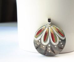 Polymer Clay Pendant featuring Gray Green Red Lime by LOVObeads, $10.00