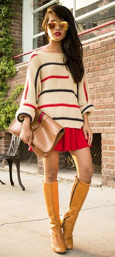 knee hi boots / slouchy sweater