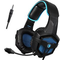 Great GW SADES SA PS PlayStation Stereo Gaming Headset Headphones Over Ear with Mic Volume Control for Xbox One PC Mac Smartphone Laptop Black Blue