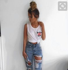 06d45a32ea I love jeans with holes in them! Tumblr Outfits 2017