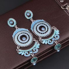 Fashion jewelry crystal paint oil drop earring long bohemian earring for women gift