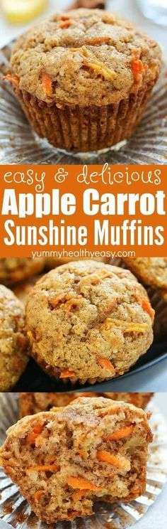 These Apple Carrot Muffins (also known as Sunshine Muffins) are full of carrots, apples, coconut, cinnamon & nutmeg Your house will smell amazing after baking a batch of them! They're easy to make an is part of Muffins - Muffin Tin Recipes, Baby Food Recipes, Baking Recipes, Dessert Recipes, Healthy Muffin Recipes, Healthy Salads, Salad Recipes, Breakfast And Brunch, Breakfast Muffins
