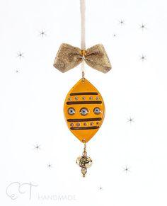 Amber colorful Murano fused glass christmas di EThandmadeshop