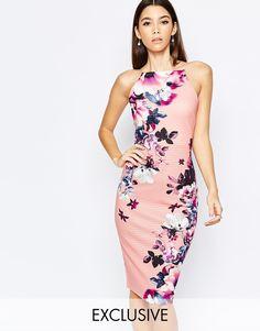 Image 1 - Lipsy - Robe fourreau à encolure haute et motif floral élégant