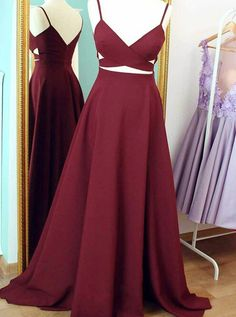 Prom Dress,Sexy Elegant Sexy V-neck Sleeveless Floor-Length Maroon
