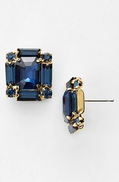 Glamorous and sparkly! Love these dramatic blue crystal stud earrings.