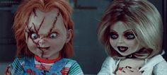 Chucky, couple, and horror image All Horror Movies, Horror Films, Dolls Film, Bride Of Chucky, Slasher Movies, Twitter Header Photos, Best Horrors, Movie Couples, Halloween Make