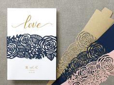 Elegant rose flowers laser cut belly band wedding invitations