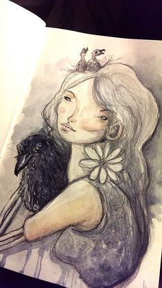 Raven and girl #drawing https://www.facebook.com/amanda.esplugues #sketchbook #girldrawing #raven
