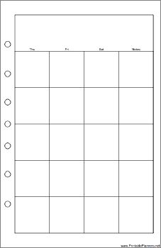 This daily planner page goes on the right-hand side of your desktop organizer sized datebook. It displays half of one month and is oriented horizontally. Free to download and print