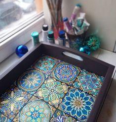 Tuesday fun 💙 🌈 tile patterns paint furniture, art decor at Dot Art Painting, Ceramic Painting, Ceramic Art, Mandala Painting, Fabric Painting, Mandala Art, Tile Crafts, Mosaic Crafts, Mirror Mosaic