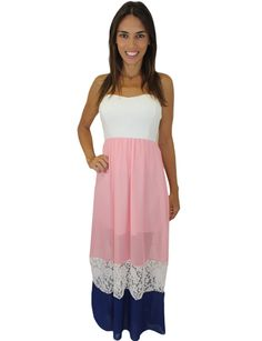 Pink And Navy Maxi Dress With Lace Detail – Clea