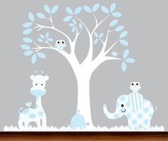 Baby Blue  Nursery wall tree and animals decal by WhimsyWallArt, $109.00