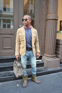 Corduroy Blazer; Crewneck Sweatshirt; Red Mini Check Button Down Collar Shirt; Skinny Fit Jeans; Work Tote by Onassis Clothing; Duck Boots by Asos.