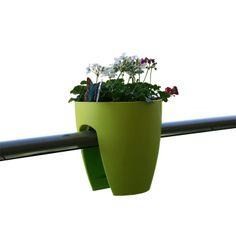 Greenbo's Railing/Balcony Planter. Want to try it even though I'd try and secure it to the rail somehow.