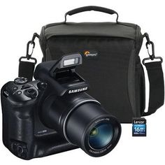 Samsung WB2200 16.4 MP Wi-Fi Digital Camera Lowepro FORMAT160 Multi-Device Shoulder Camera Bag Lexar LSD16GB300 16GB Platinum II Class 10 SDHC Card