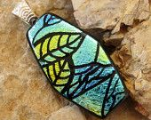 Green and Blue Fused Glass Pendant, Dichroic Fused Glass Zentangle Pendant, Fused Glass - Autumn Leaves