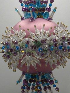 Pink satin ornament with gorgeous lace and blue & purple findings. http://www.ebay.com/itm/Fancy-Schmancy-Victorian-Finished-Hand-Made-Beaded-Satin-Ornament-With-Crystal-/151295160142?pt=LH_DefaultDomain_0&hash=item2339e4ef4e