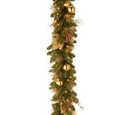 Santa's Little Helper Collection 6' x 12 inch Decorative Collection Elegance Garland with Berries Pine Cones and Gold Leaves with Battery Operated LEDs with Timer