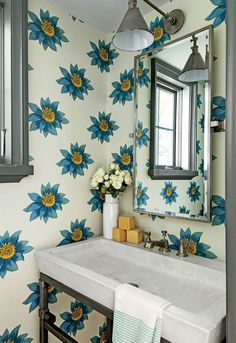 Floria // Abnormals Anonymous wallpaper Blue Floral Wallcovering in Powder Room Southern Living Showhouse