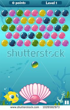 Vector bubble shooter user game interface with sea background, balls, shell, anchor, fish, points and level