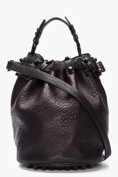 FASHION shopping   Alexander Wang Black Leather Matte Studded Diego Bucket Bag, $850