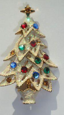 GLITTER Signed EISENBERG ICE CHRISTMAS TREE BROOCH True Vintage and RHINESTONES | eBay