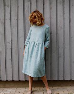 Cloudy Sky Linen Dress 3/4 Sleeve Dress Loose Fit Dress