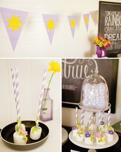 Marshmallow Pops! - Charming Tangled Inspired Rapunzel Birthday Party - would look cute sitting in mini gold cupcake wrappers