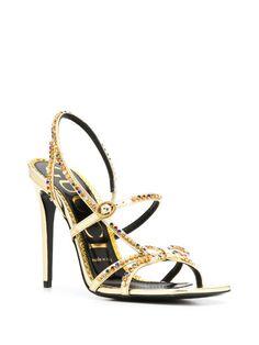 Metallic Sandals, Wedding Heels, Gucci, Gold Chains, Open Toe, Ankle Strap, Stiletto Heels, Fashion Shoes, Women Wear