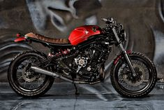 A muscular Moto Guzzi from Florida, a cafe'd Hypermotard from Germany, and proof from Jakarta that the Kawasaki can be turned into a good looking bike. Cafe Racer Helmet, Cafe Racer Girl, Cafe Racer Bikes, Cafe Racer Motorcycle, Motorcycle Style, Cafe Racers, Biker Style, Motorcycle Helmets, Custom Motorcycles
