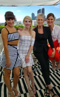 Everybody Scream from E! Takes On Comic-Con 2015  E! News' Kristin Dos Santos appears with Lea Michele, Emma Roberts and Jamie Lee Curtis from the show Scream Queens.