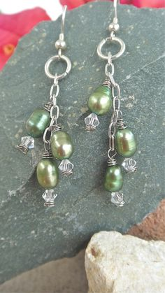 Green Pearl Earrings Crystal Dangle Earrings