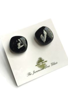 Black Stud Earrings, Fused Glass Earrings, Sparkle Earrings, Plant earrings, nature earrings, fossil earrings, science earrings, small studs by thejeremiahtreeglass. Explore more products on http://thejeremiahtreeglass.etsy.com