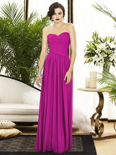 Dessy Collection Style 2880 Full length strapless lux chiffon dress w/ banded rouch detail on bodice. Sweetheart neckline and natural waist. Slightly shirred skirt