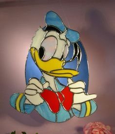 Stained Glass Donald Duck by StainedGlassbyWalter on Etsy, $79.95